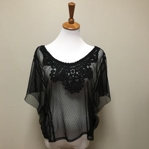 >> Black Lace Cover Top Forever 21 L